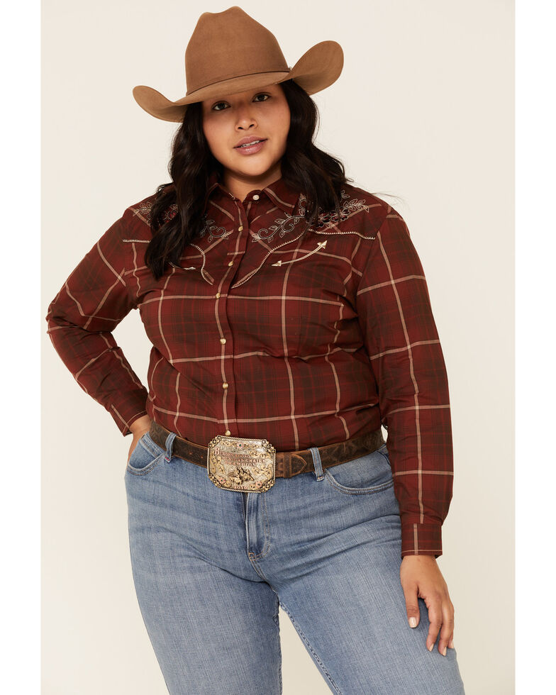 Rough Stock by Panhandle Women's Chamisa Ombre Plaid Long Sleeve Western Shirt - Plus, Burgundy, hi-res