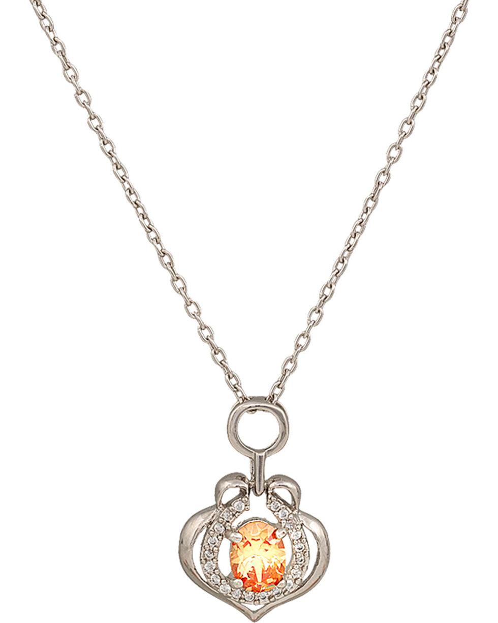 Montana Silversmiths River Lights Peach Drop Horseshoe Necklace, Peach, hi-res