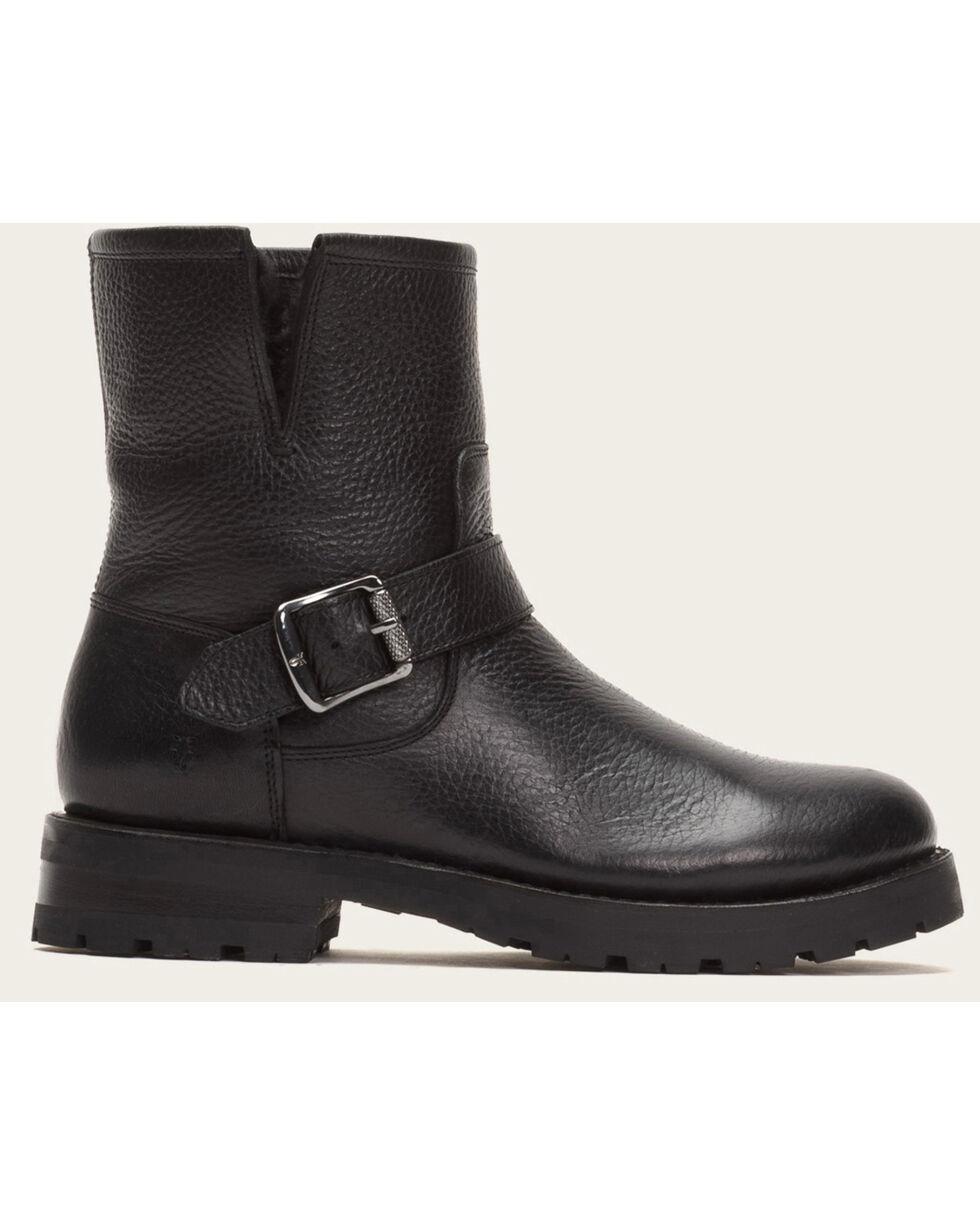 Frye Women's Black Natalie Engineer Lug Shearling Boots, Black, hi-res
