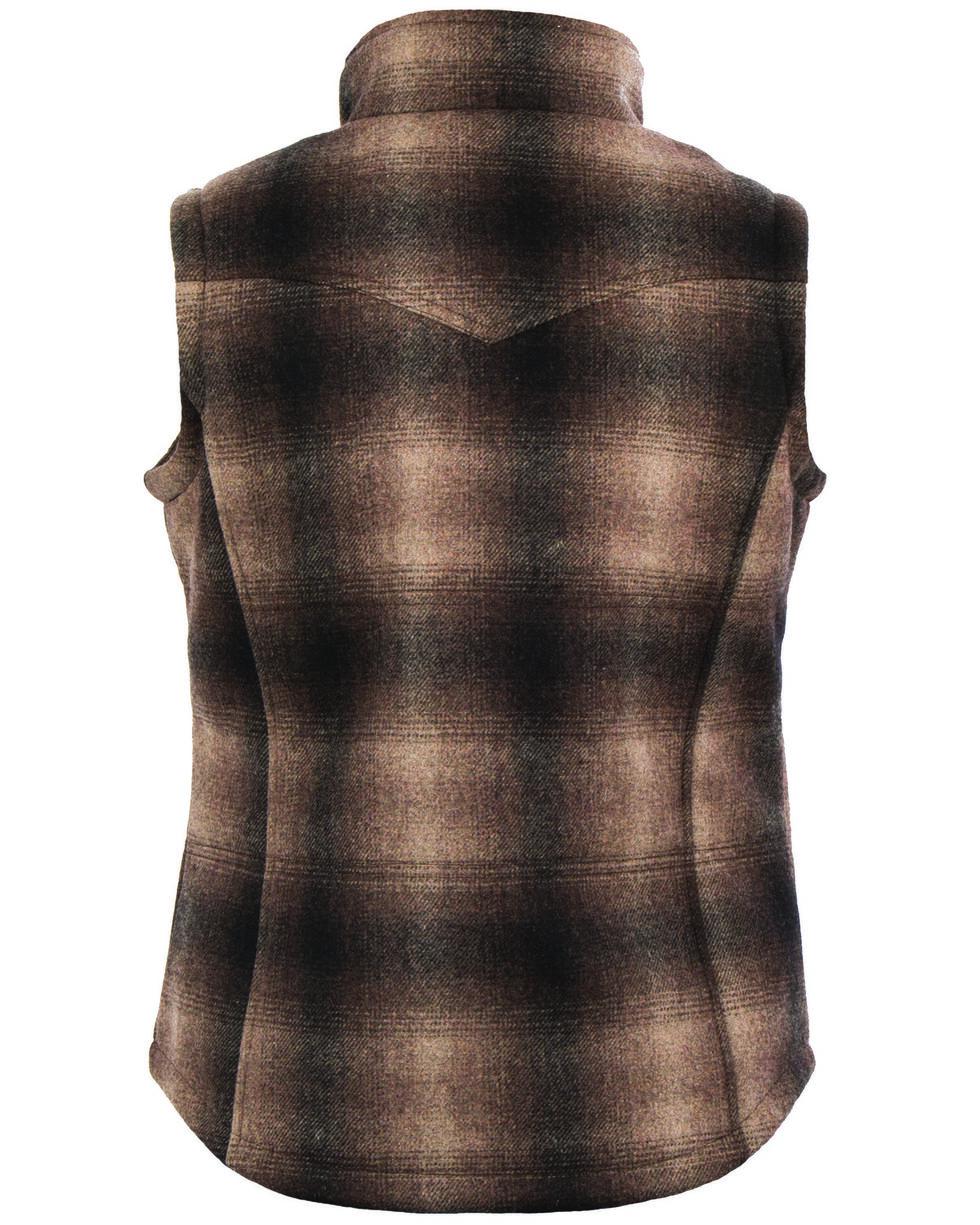 STS Ranchwear Women's Willow Plaid Vest, Brown, hi-res