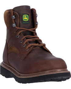 "John Deere Men's Brown 6"" Work Boots - Round Toe, Brown, hi-res"