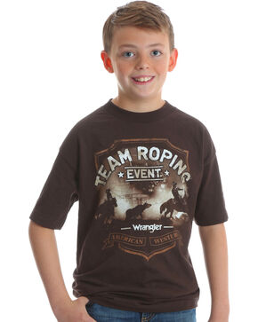 Wrangler Boys' Brown Team Roping Graphic Tee , Brown, hi-res
