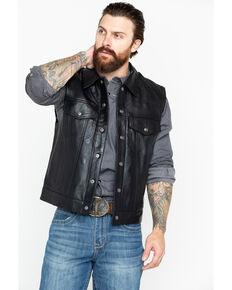 Scully Men's Solid Lamb Leather Moto Vest, Black, hi-res