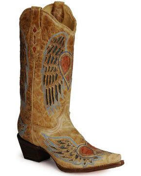 Corral Women's Antique Wing and Heart Western Boots, Antique Saddle, hi-res