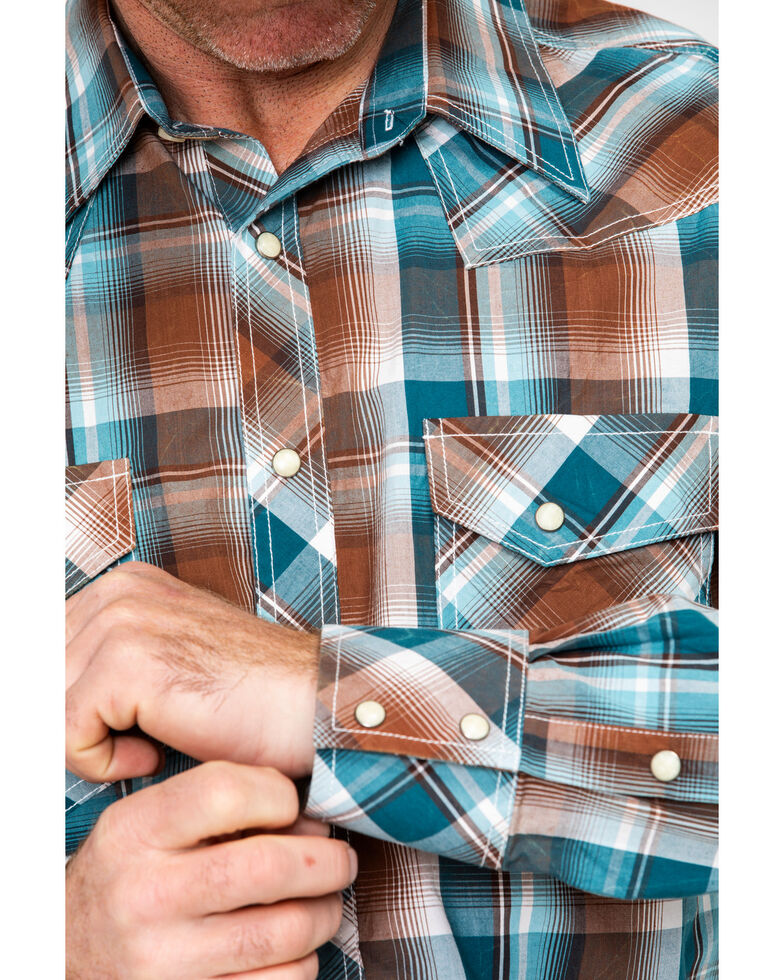 Rock & Roll Cowboy Men's Chili Crinkle Washed Plaid Long Sleeve Western Shirt , Chilli, hi-res
