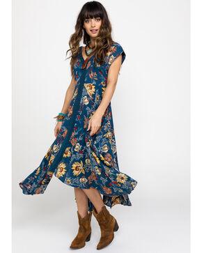 Nostalgia Women's Blue Floral Hanky Hem Dress, Blue, hi-res