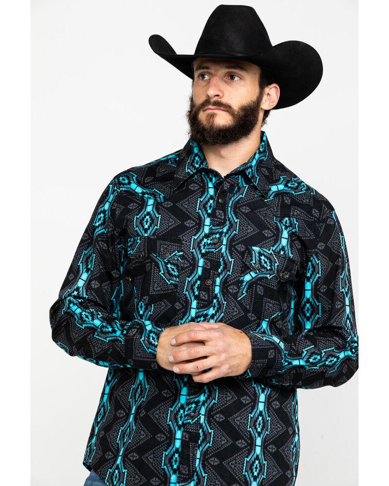Rock & Roll Cowboy Men's Teal Vertical Aztec Print Long Sleeve Western Shirt , Teal, hi-res