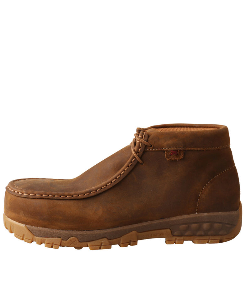 Twisted X Women's Comp Toe Work Chukkas - Moc Toe , Distressed Brown, hi-res
