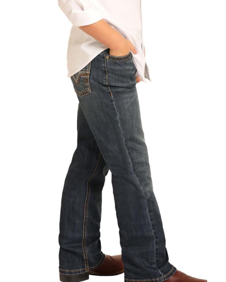 Rock & Roll Cowboy Boys' Reflex Dark Stretch Boot Jeans , Blue, hi-res
