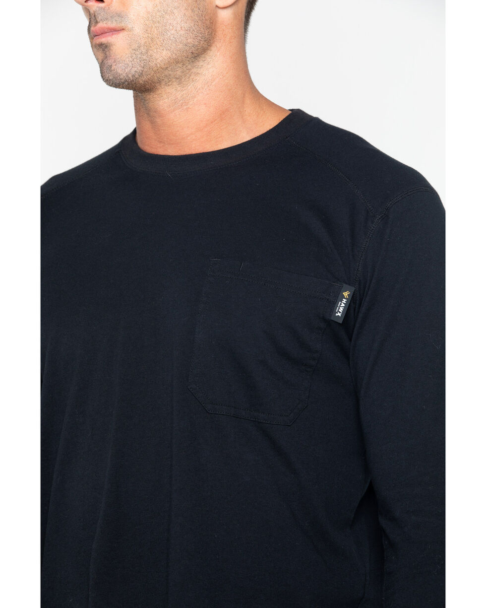 Hawx Men's Solid Pocket Crew Tee - Big & Tall , Black, hi-res