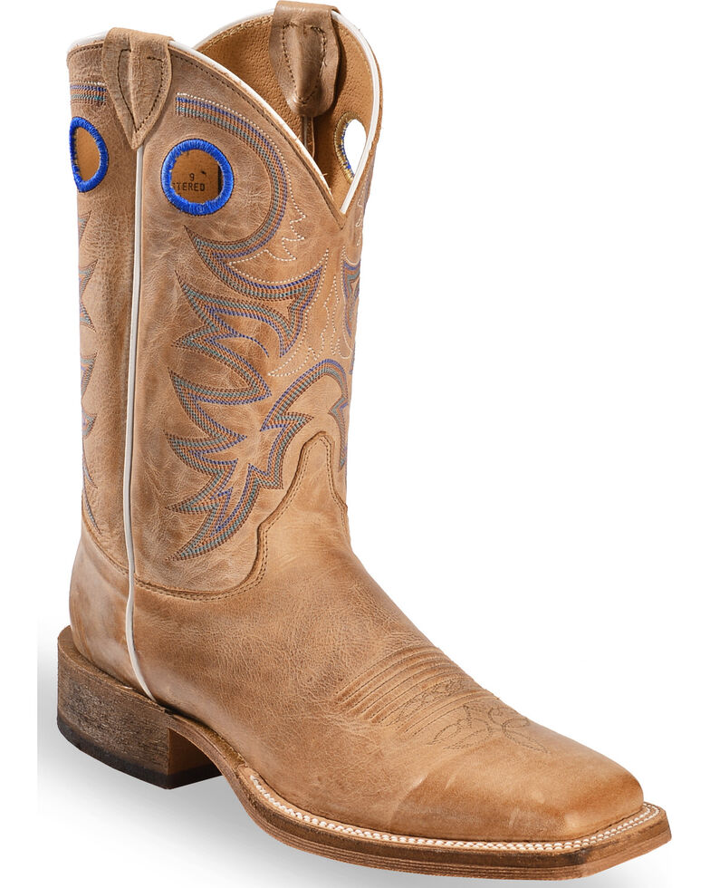 2842031ac4a77 Zoomed Image Justin Bent Rail Men's Chievo Square Toe Western Boots, Beige,  hi-res