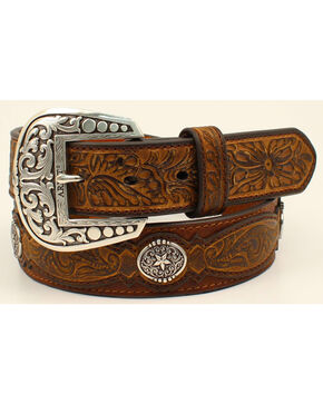 Ariat Men's Embossed Overlay Concho Belt, Brown, hi-res