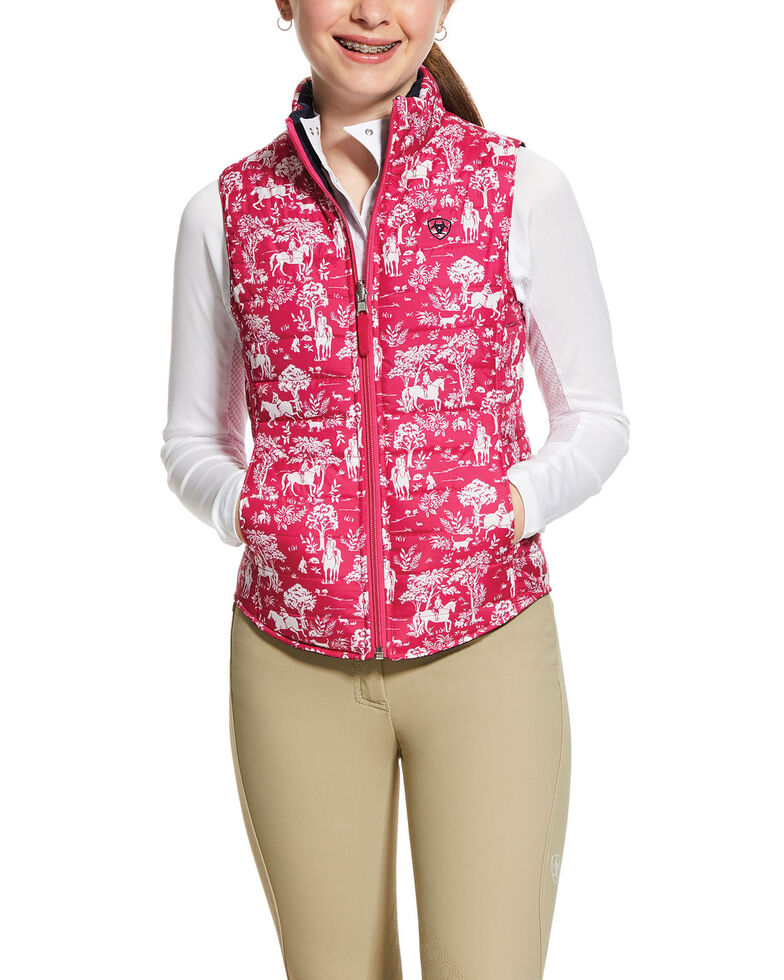 Ariat Girls' Emma Reversible Insulated Vest, Pink, hi-res