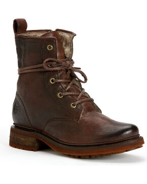 Frye Women's Valerie Lace-Up Shearling Ankle Boots, Dark Brown, hi-res