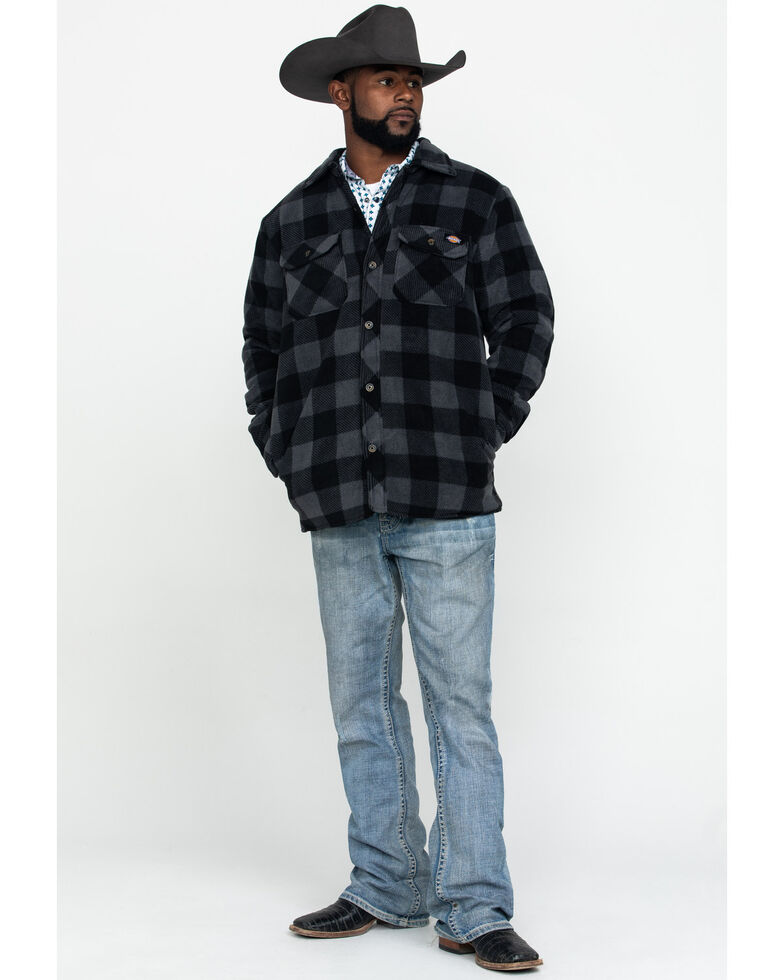 Dickies Men's Plaid Icon Micro Fleece Quilted Shirt Work Jacket , Slate, hi-res