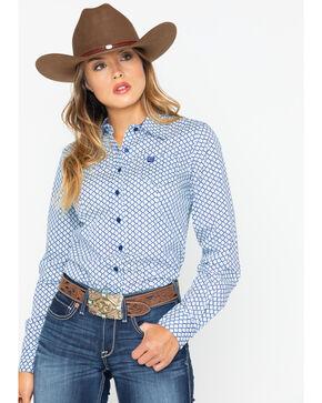 Cinch Women's Aztec Diamond Button Western Core Shirt , Blue, hi-res
