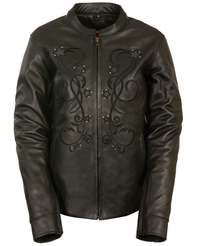 Milwaukee Leather Women's Reflective Star Leather Jacket, Black, hi-res