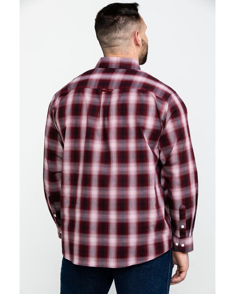 Tuf Cooper Men's Stretch Ombre Plaid Long Sleeve Western Shirt , Rust Copper, hi-res