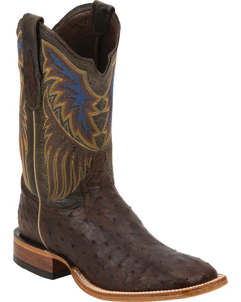 Tony Lama Men's Full Quill Ostrich Exotic Boots, Sienna, hi-res