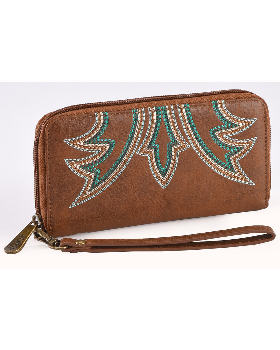 Justin Women's Signature Stitch Wallet , Brown, hi-res