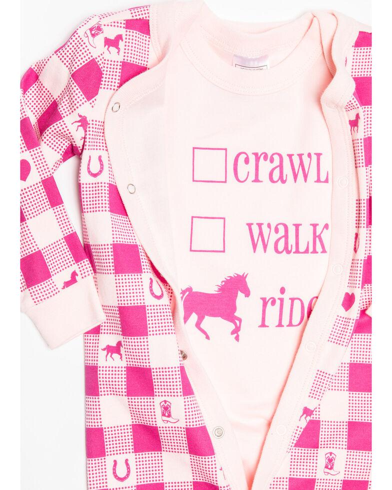 Shyanne Infant Girls' Pink Crawl Walk Ride Onesie Set , Pink, hi-res