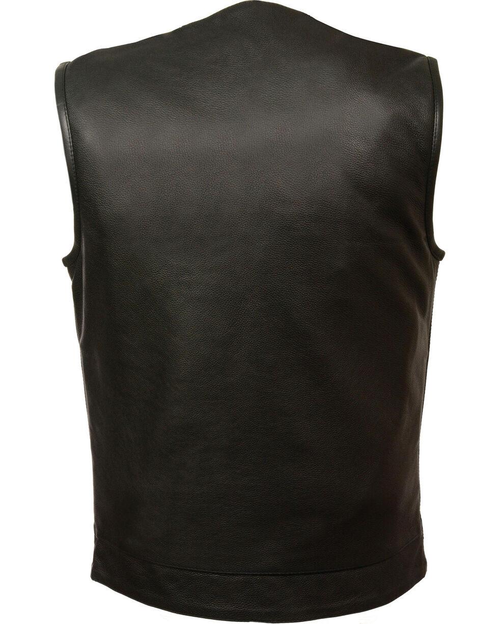 Milwaukee Leather Men's Black Collarless Club Style Vest - Big 3X, Black, hi-res