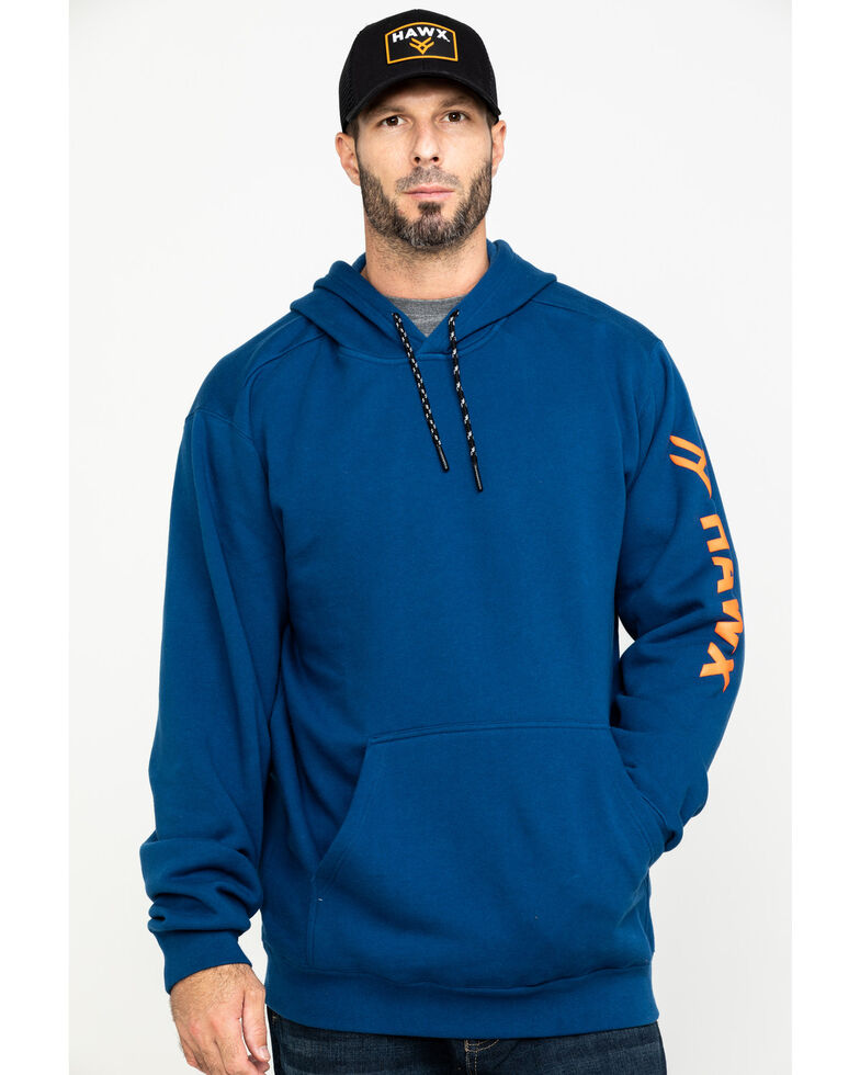Hawx Men's Blue Logo Sleeve Performance Fleece Hooded Work Sweatshirt - Tall , Blue, hi-res