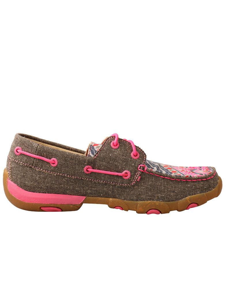 Twisted X Women's Eco Pink Multi Canvas Driving Shoe  - Moc Toe, Multi, hi-res