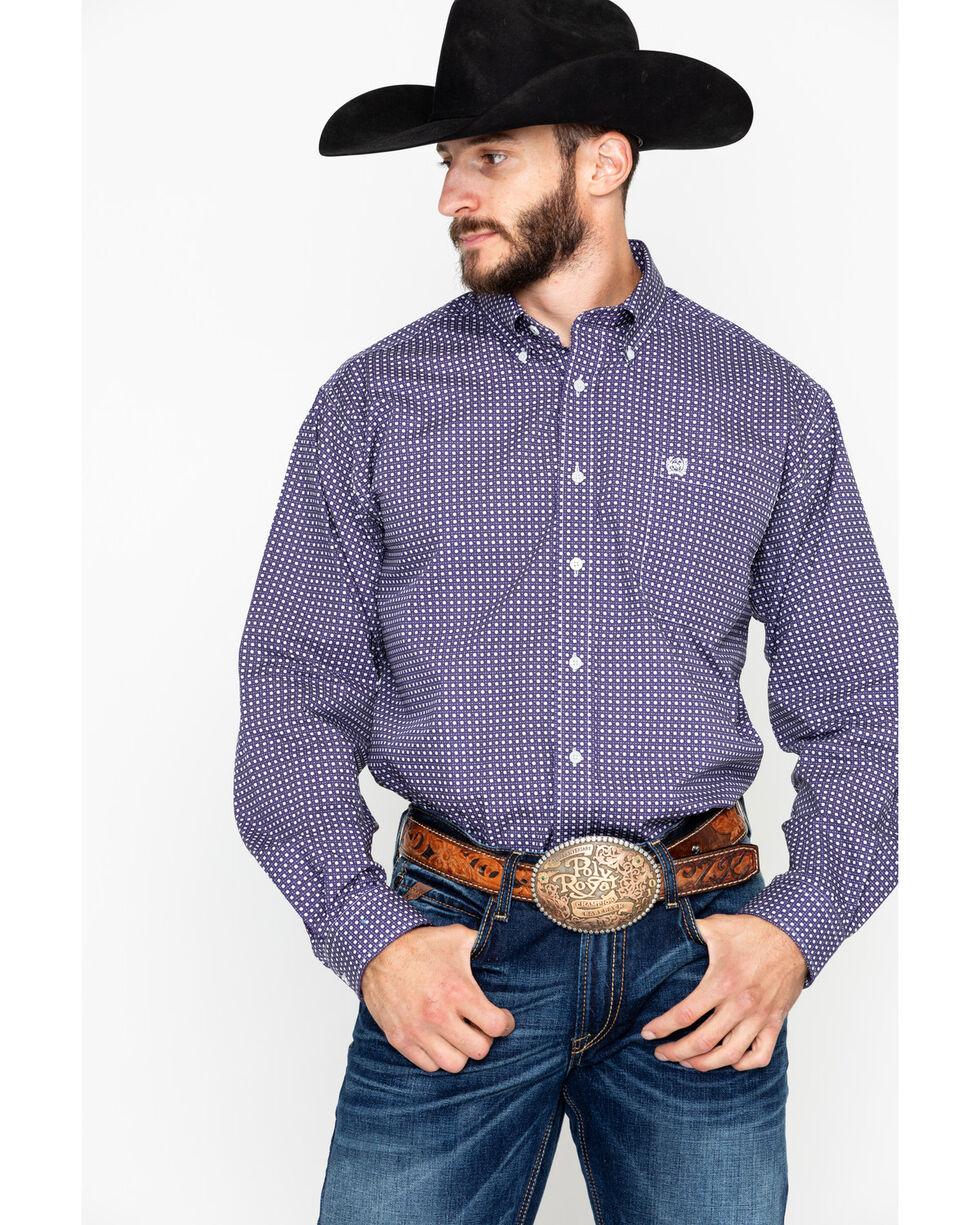 Cinch Men's Purple Geo Print Button Long Sleeve Button Shirt , Purple, hi-res