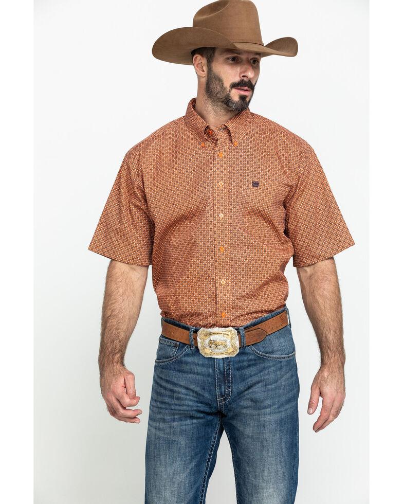 Cinch Men's Orange Geo Print Button Short Sleeve Western Shirt , Orange, hi-res