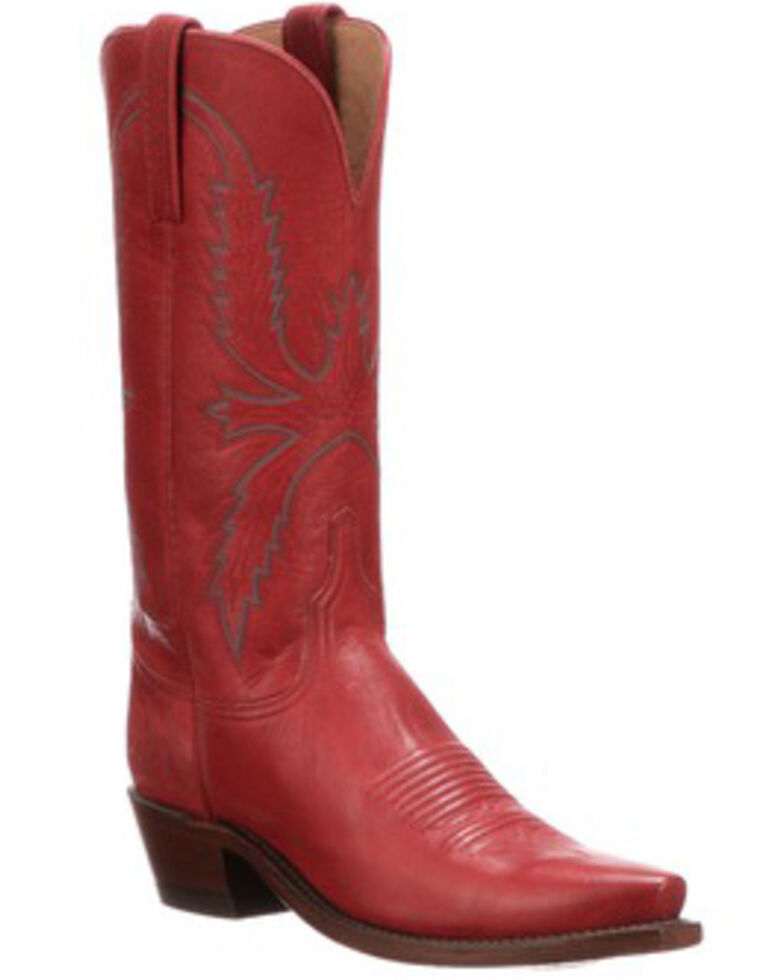 Lucchese Women's Savannah Western Boots - Snip Toe, Red, hi-res