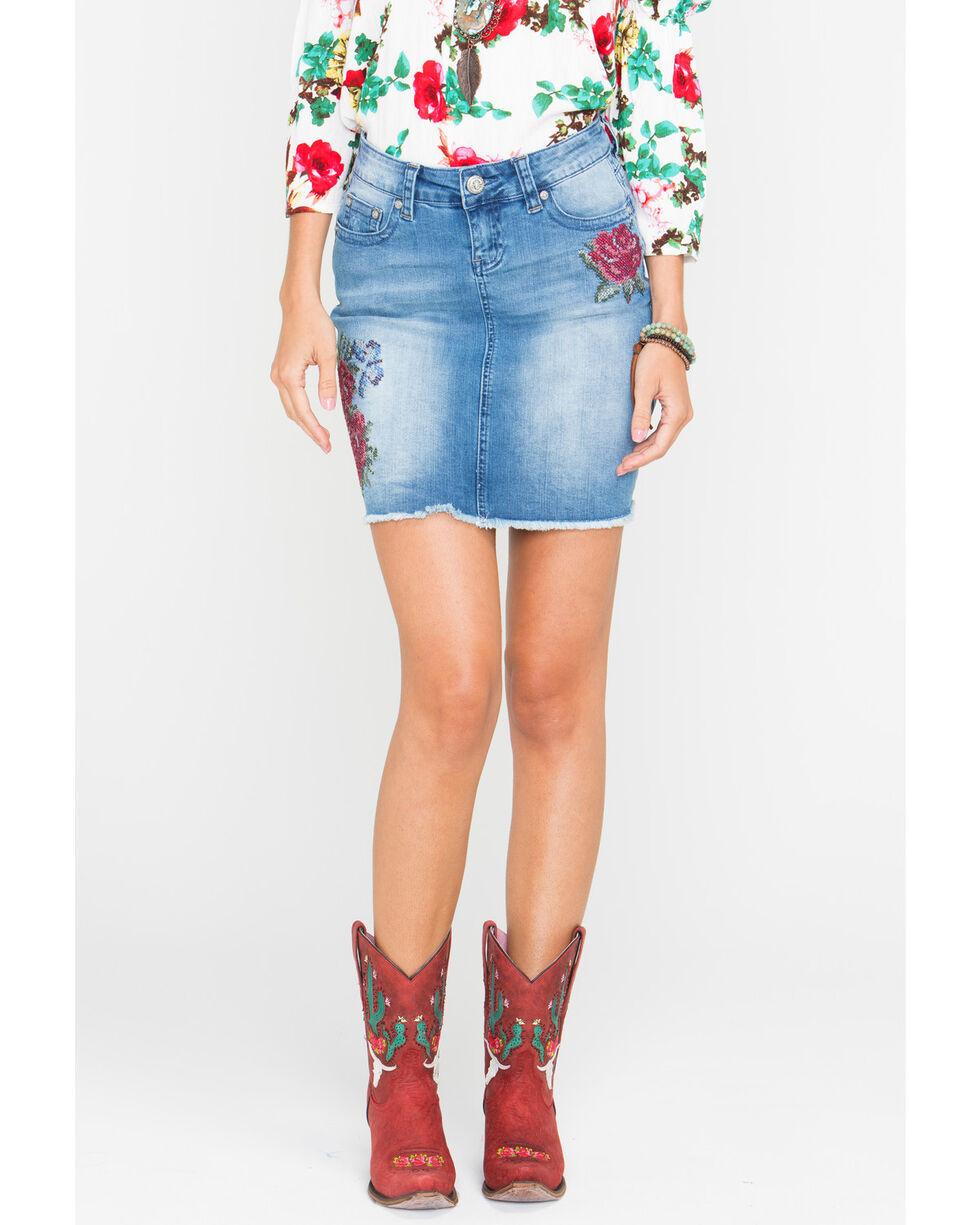 Grace in LA Women's Floral Patch Denim Skirt, Light/pastel Blue, hi-res
