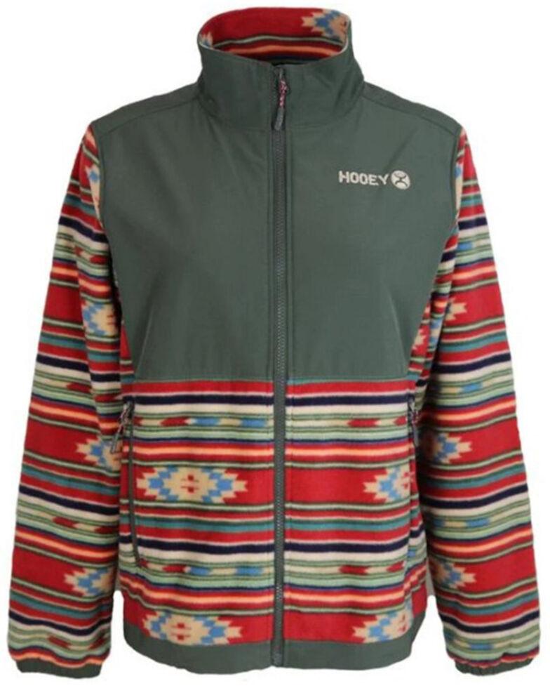 HOOey Women's Olive Aztec Print Fleece Logo Jacket , Olive, hi-res