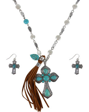 Shyanne® Women's Cross and Fringe Jewelry Set, Silver, hi-res