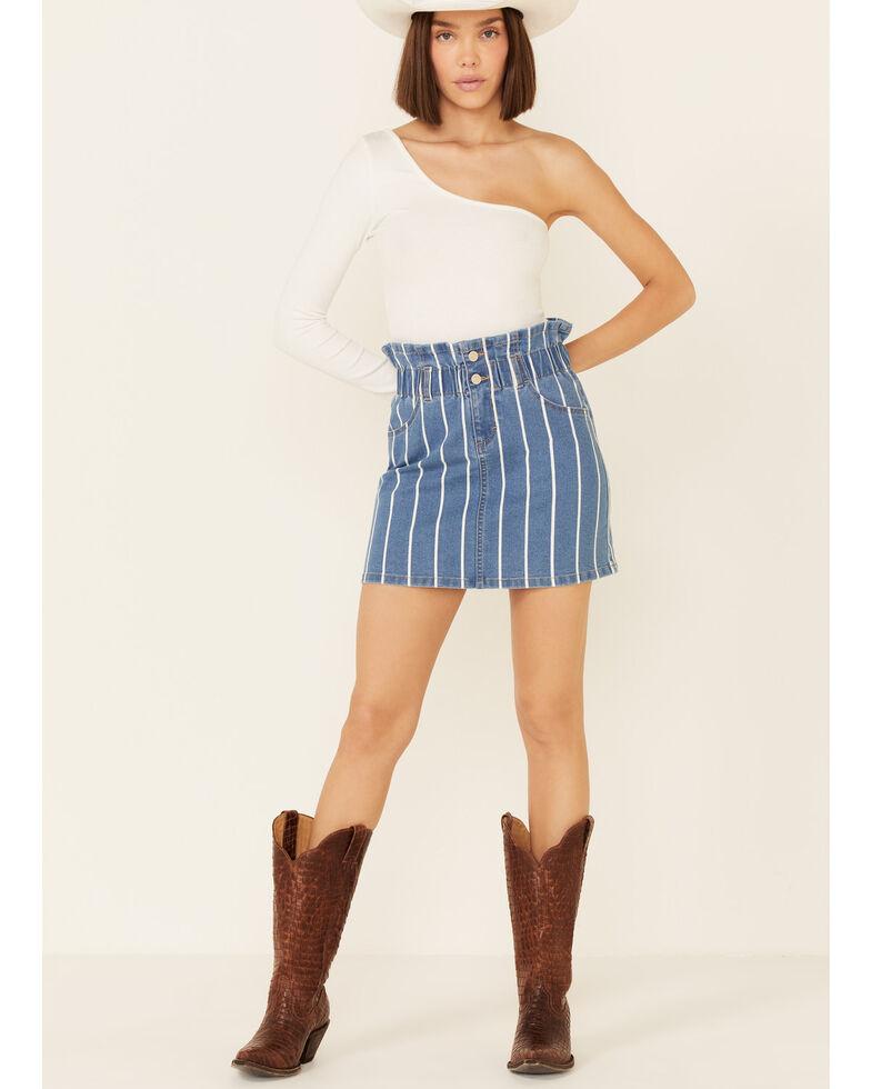 Jolt Women's Pinstripe Denim Mini Skirt, Blue, hi-res