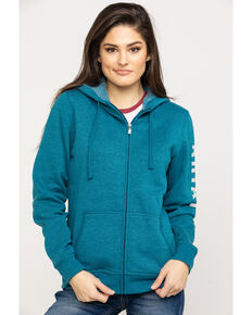 Ariat Women's R.E.A.L. Dream Teal Full Zip Hoodie , Teal, hi-res