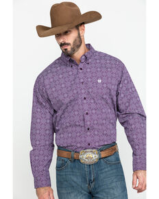 Cinch Men's Purple Diamond Geo Print Button Long Sleeve Western Shirt , Purple, hi-res