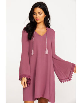 Ariat Women's Solid Ruffle Neck Flora Long Sleeve Dress , Medium Purple, hi-res