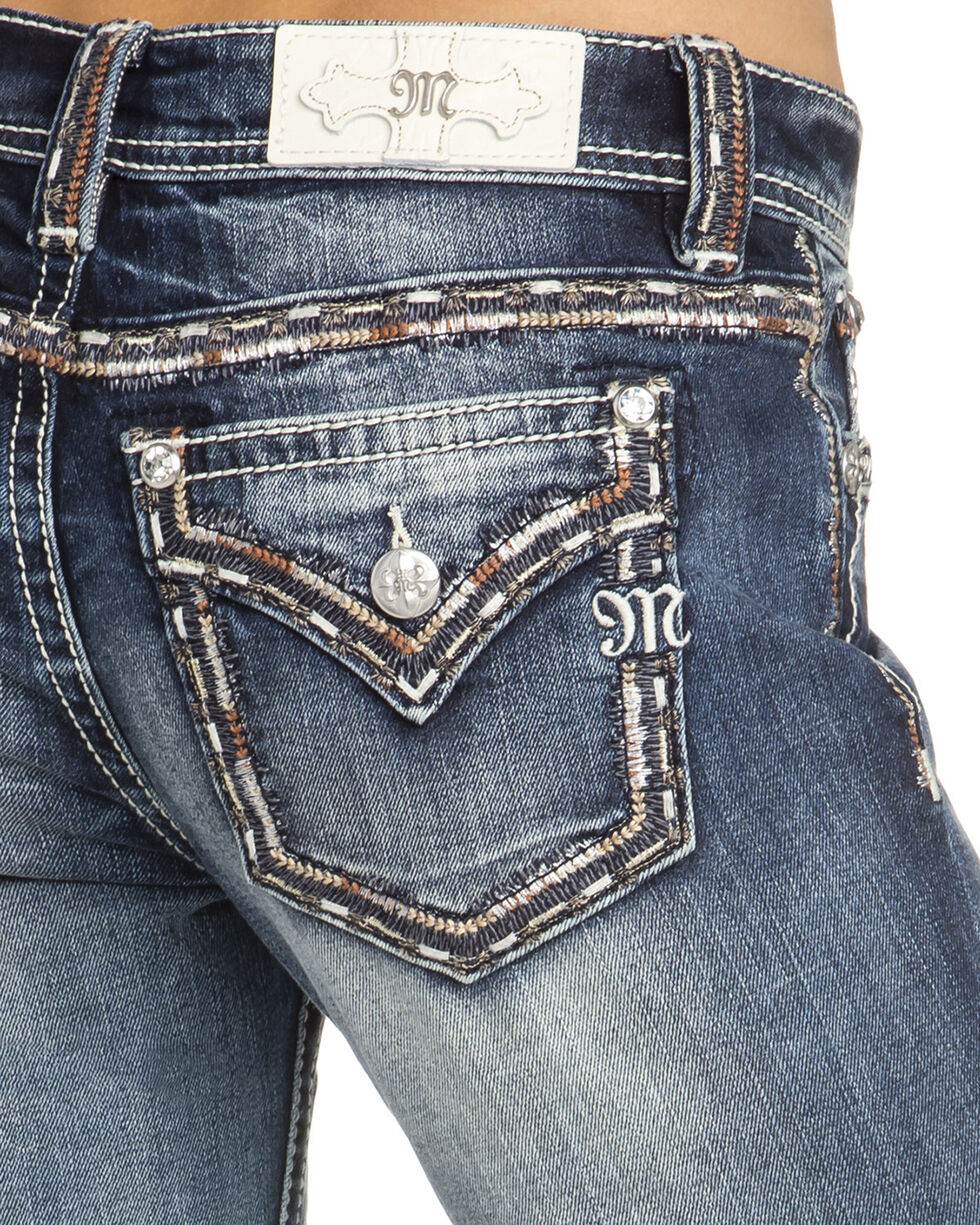 Miss Me Women's Embroidered Pocket Boot Cut Jeans, Indigo, hi-res