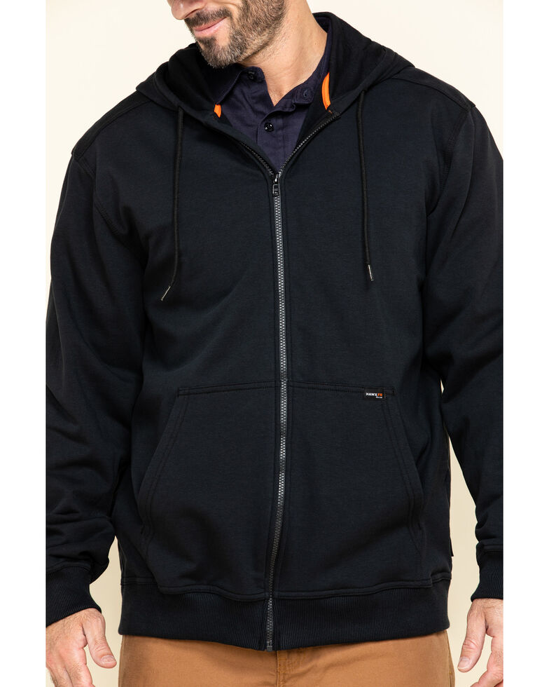 Hawx Men's FR Zip Up Fleece Hooded Work Jacket , Black, hi-res
