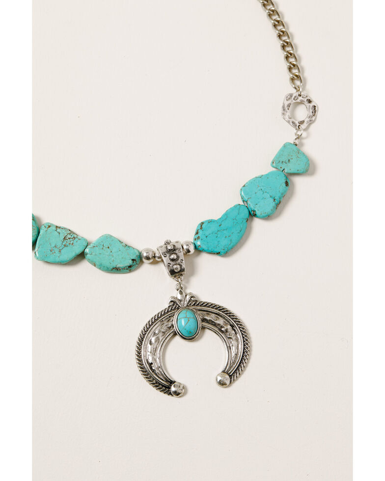 Shyanne Women's Midnight Sky Squash Blossom Turquoise Stone Necklace, Silver, hi-res