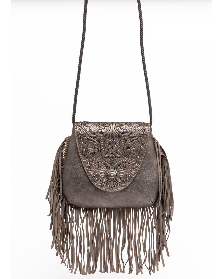 Shyanne Women's Glitter Inlay Fringe Crossbody Bag, Medium Grey, hi-res