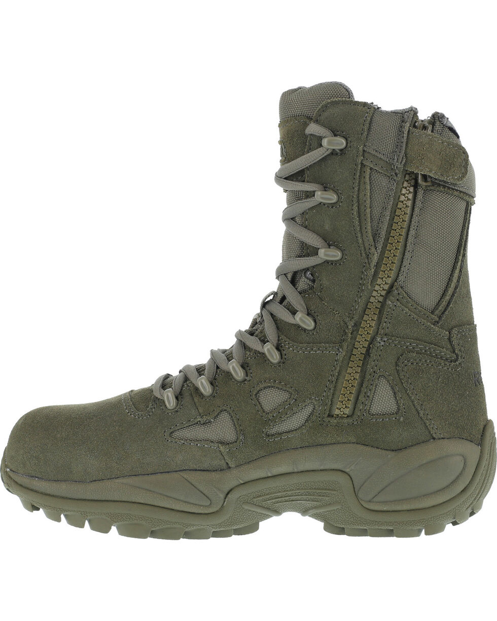 "Reebok Women's Stealth 8"" Lace-Up Black Side-Zip Work Boots - Composite Toe, Sage, hi-res"