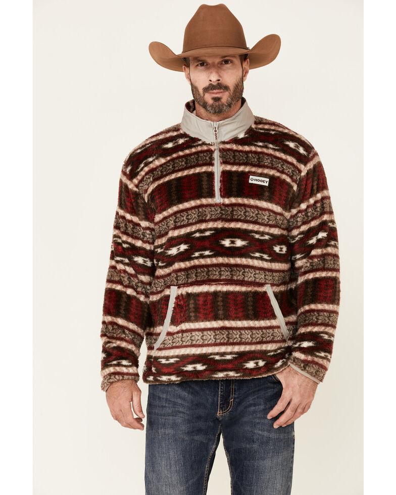 HOOey Men's Burgundy & Tan Aztec Print 1/4 Zip Front Fleece Pullover , Burgundy, hi-res