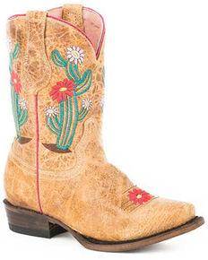 Roper Girls' Cactus Flower Western Boots - Square Toe, Brown, hi-res