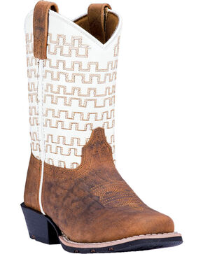 Dan Post Boys' Copper Sammie Leather Cowboy Boots - Square Toe , Rust Copper, hi-res