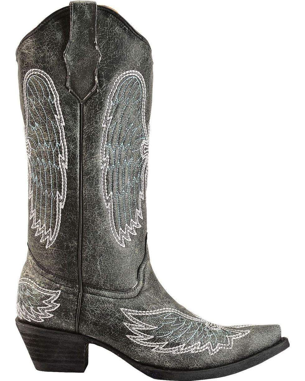 Circle G Women's Wing and Cross Stitched Western Boots, Black, hi-res
