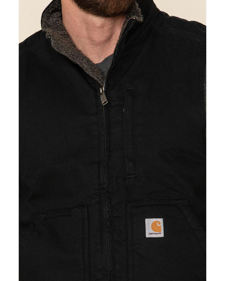 Carhartt Men's Black Washed Duck Sherpa Lined Mock Neck Work Vest - Big , Black, hi-res
