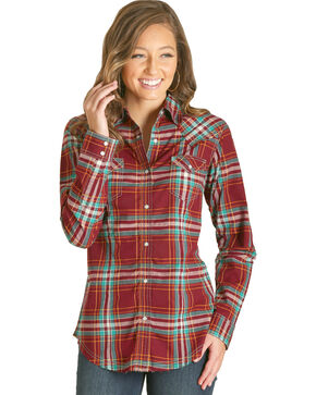 Wrangler Women's Red Plaid Fashion Western Shirt , Red, hi-res