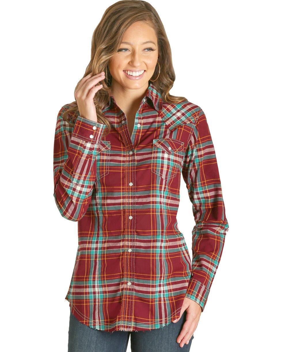 Wrangler Women's Red Plaid Fashion Western Shirt , Red, hi-res